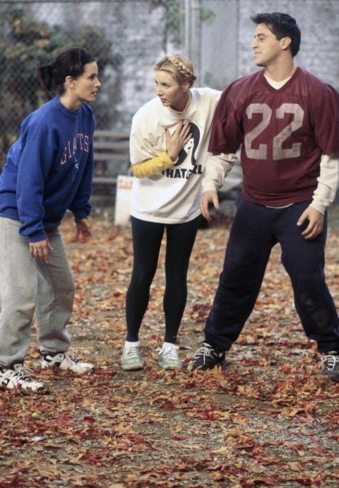 **The one with the sweater**   Being super competitive, we're not surprised Monica selected top-to-toe sweats for a game of football in the park.