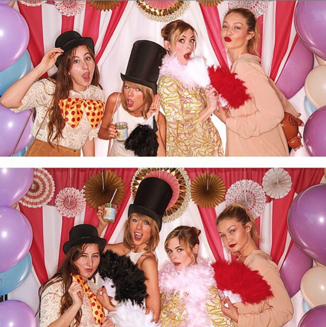 """Um, is Taylor drinking a cocktail out of a baby food jar? Ugh, that's so pinterest <3 <3   *""""@taylorswift: Baby shower/major throwdown for @jaime_king feat @gigihadid @babyhaim""""*"""