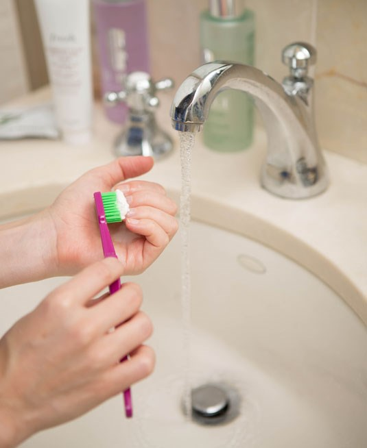 **19. Use whitening toothpaste to lift any yellow stains off your nails.** Use that clean, extra toothbrush you have stashed away and a whitening toothpaste that contains hydrogen peroxide to help remove the stains from too-dark nail polish from your nails.