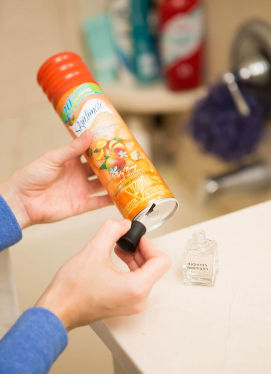 **20. Prevent rust rings by painting a topcoat over the bottom of your shaving cream.** Much like how topcoats keep inexpensive jewellery from tarnishing, painting the bottom metal part of your shaving cream bottle will prevent unsightly rust rings from messing up your shower ledge.