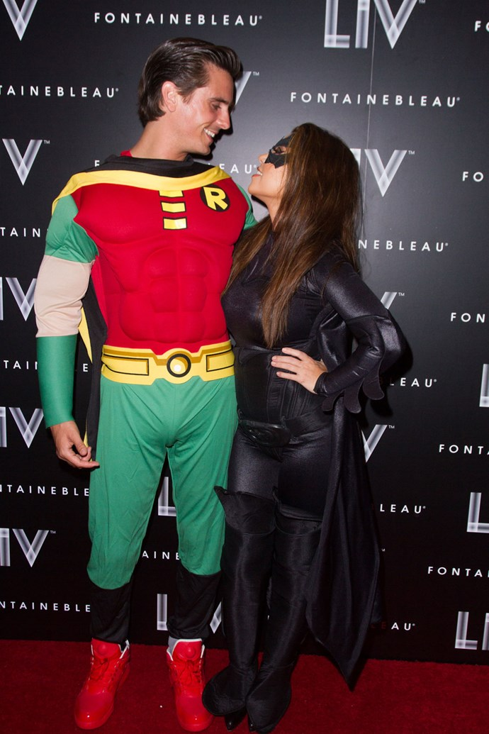 12. Dressing up as superhero duos for Kim's Halloween party.