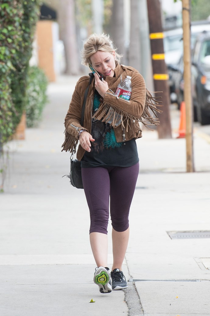 Hilary Duff pimps her workout gear with a cowgirl jacket.
