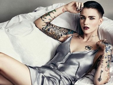 Ruby Rose looks totally different with all her tattoos covered up