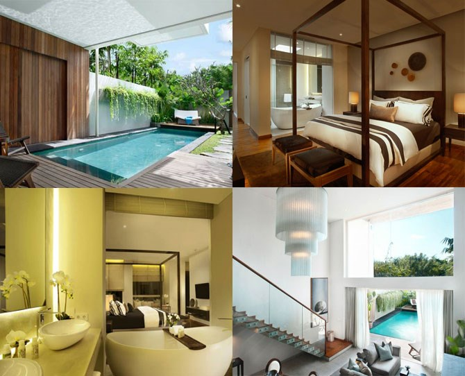 "**For the couple who likes to party…** ***[Hu'u Villas](http://www.cantikbalivillas.com/bali-villas/indonesia/bali/seminyak/hu'u-villas--villa.aspx|target=""_blank""): Seminyak (prices from $335 per night for a 1 bedroom pool villa, breakfast included)*** Seminyak is the place to be if you're all about eating and drinking. (So all of us, surely?) While there are plenty of hotels around the busy area, a private villa provides a bit of a sanctuary from the hustle and bustle. Hu'u Villas offer one, two and three bedroom modern pads with private pools, giant baths and 24 hour service.  They also have high walls around the outside area which makes for the perfect walking-around-naked environment. And what's more romantic than that? Book via [Cantik Villas Bali](http://www.cantikbalivillas.com