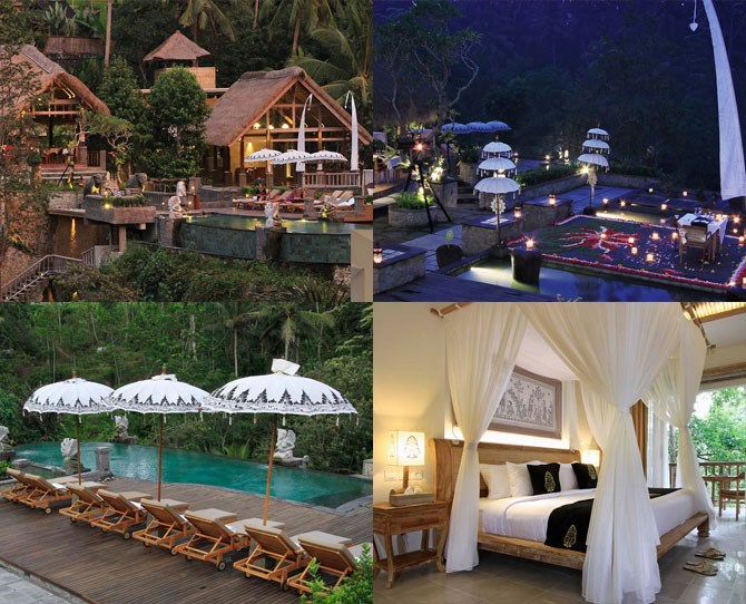 "**For the couple who wants authentic ~Bali vibes~…** ***[The Kayon](http://www.thekayonresort.com/|target=""_blank"") Resort and Spa: Ubud (prices from $188 per night, breakfast included)*** The incomparable staff at The Kayon treat you like total royalty, and who doesn't want to live like a queen while on holidays? The rainforest-set resort serves up incredible food in front of its stunning infinity pool, but if even that isn't romantic enough for ya, or you just hate being around people, there are individual private dining tables set in the middle of pretty ponds where you can wine and dine away from everybody else. We bet you're feeling loved up just at the thought of it."