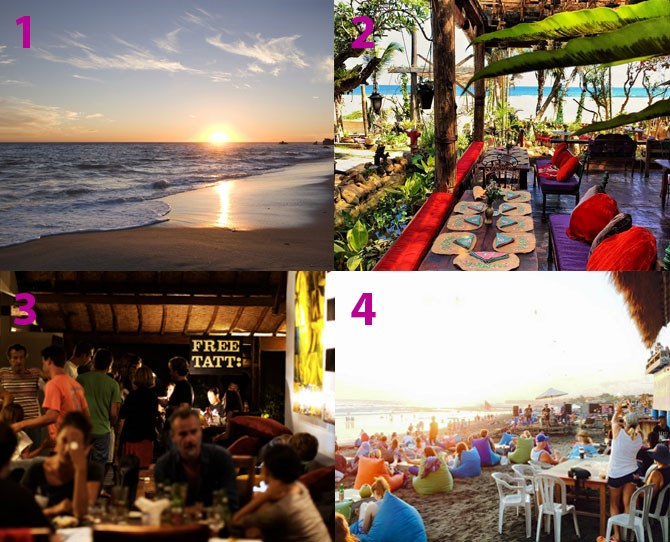 "**Where to eat/drink:** [La Laguna](https://instagram.com/lalagunabali/|target=""_blank"") (2) is a cool new bar/restaurant on the Canggu scene from the same owners as Seminyak's La Favela - think boho, gypsy feels right on the beach – complete with gypsy caravans. [Deus Bali](https://www.facebook.com/DeusBali) offers free tattoos when you buy tacos on a Tuesday (?!).  And [Sand Bar](https://www.facebook.com/TheSandBarEchoBeach
