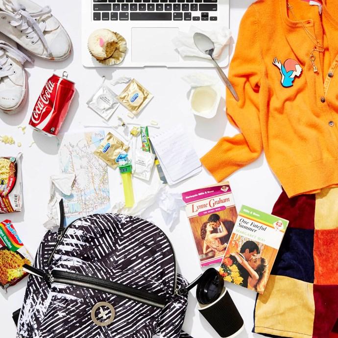 **Hannah Horvath from *Girls*** @hannahhorvath_girls: Taking a quick break from novel writing to find myself... and my wallet.🙀 #lol #notlol #sahbroke #laptop @appleaustralia #condoms #cupcake @sparklecupcakerysydney #coffee #backpack @_mimco #cardigan @boden_clothing #skirt @official_minkpink #brooch @karen_walker
