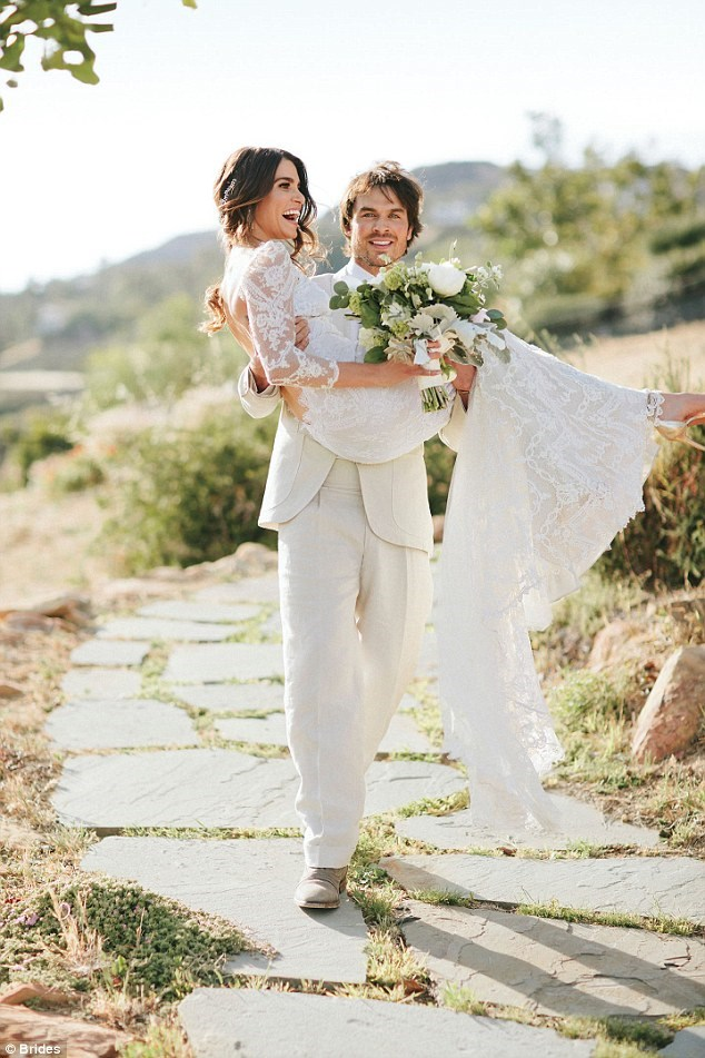 Check out that STUNNING lace on Nikki's Claire Pettibone gown! Also, how adorable are these two? <3