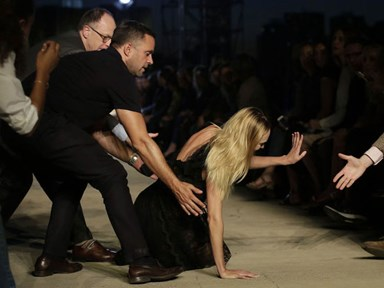 Candice Swanepoel tripped on the Givenchy runway at NYFW