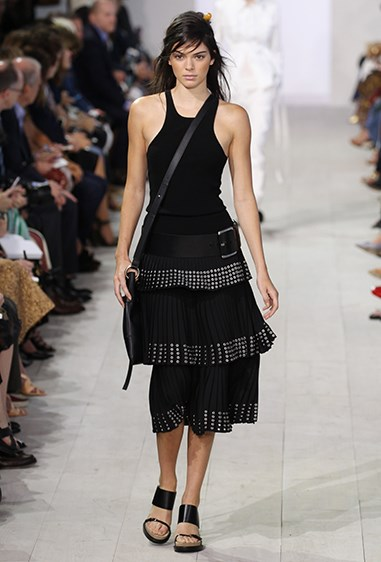 Kendall was perfection on the Michael Kors catwalk in this rebellious ebony look