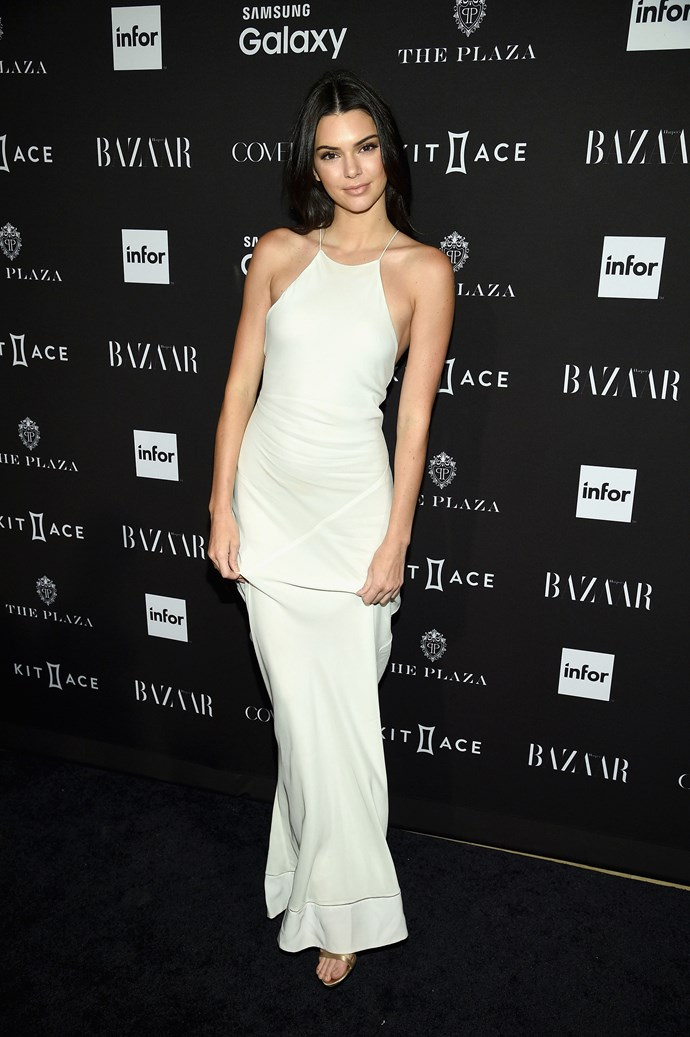 Kendall Jenner was a vision in White at the Harper's Bazaar Icons event