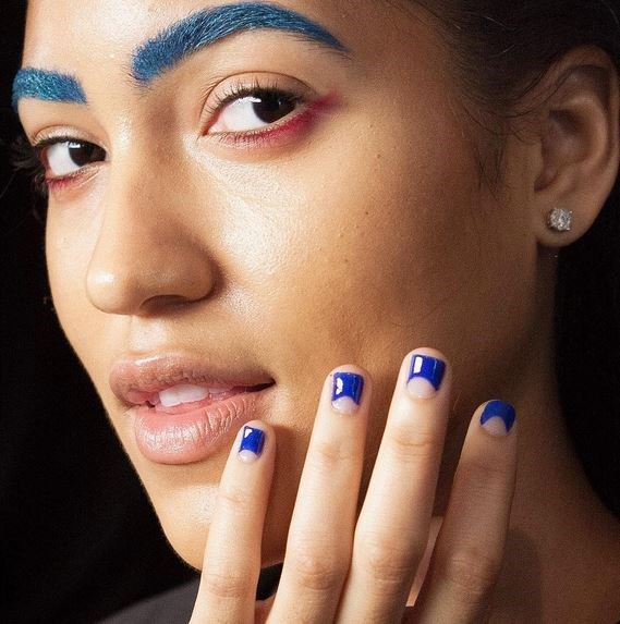 "18. Cobalt Blue Negative Space Nails at Chromat Via [@nailitmag](https://instagram.com/nailitmag/ target=""_blank"")"