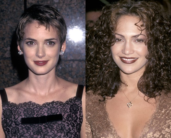 "There are some ['90s beauty trends we'd rather forget](http://www.cosmopolitan.com.au/beauty/hair/2014/3/nineties-hair-trends-we-would-rather-forget/|target=""_blank""), but as Justin Timberlake would say, ~what goes around, comes around~ and these makeup looks and hairstyles are having a resurgence. **1. Chocolate lips THEN** Winona Ryder and Jennifer Lopez were all about a dramatic pout.** **"