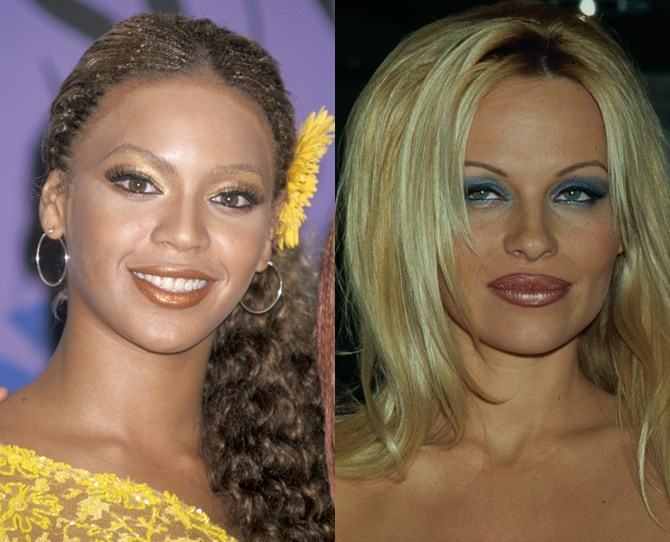 **2. Frosted lips THEN** Bey and Pammy BOSSED shimmery gloss back in the '90s.** **
