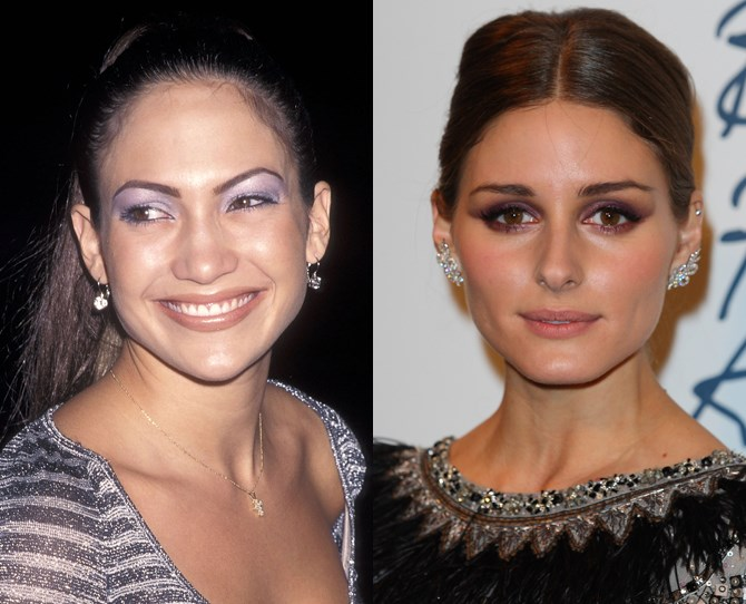 **6. Lilac 'lids THEN and NOW** J-Lo's full-blown shadow (which kinda mimics a superhero eye mask) might've frightened us from dabbling in purple makeup for the past two decades, but Olivia's made it modern by keeping it simple and soft.** **