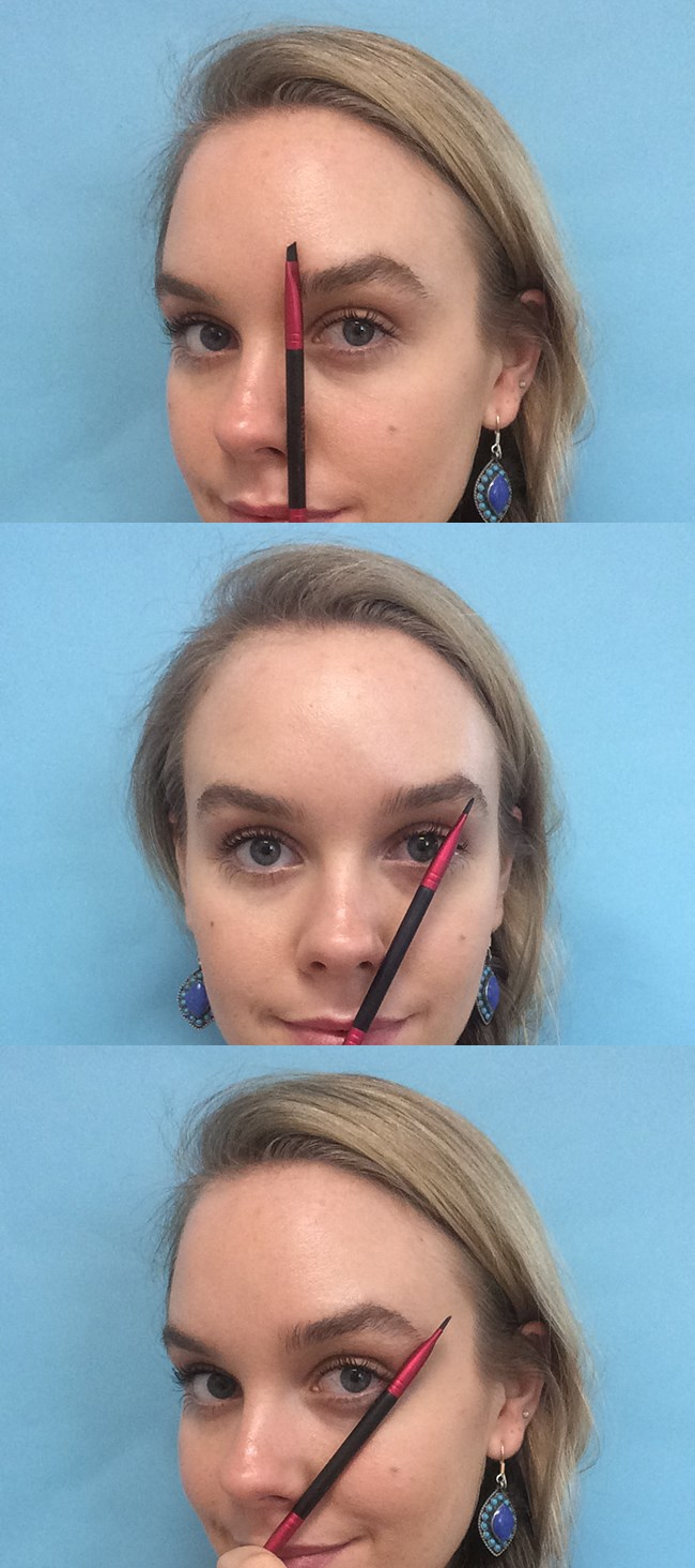 **1. Use a brush to check where your brows should start and finish.**Hold an angle brush parallel to the bridge of your nose up to your eyebrow - this is where your eyebrow should start. Your arch should be where your angle brush intersects with your eyebrow after lining it up with the outer corner of your iris. Then, hold your brush on an angle diagonally from the edge of your nostril to the outer corner of your eye. Where your angle brush intersects with your tail is where it needs to finish. (Or, your tail might not grow down that far.)