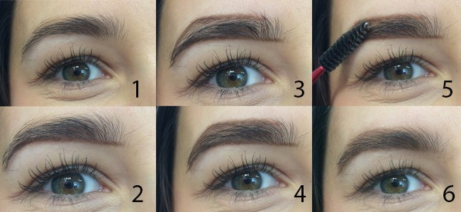 **5.** **Create an outline when styling your brows.**When you're filling your eyebrows in, you should create a line with the product along your bottom line up to your arch and down to the end of your tail. Next, draw a second line parallel to this along the top of your eyebrow too. Create fullness in the middle by mimicking your hairs with the product using light, feathery strokes. Finish by blending.