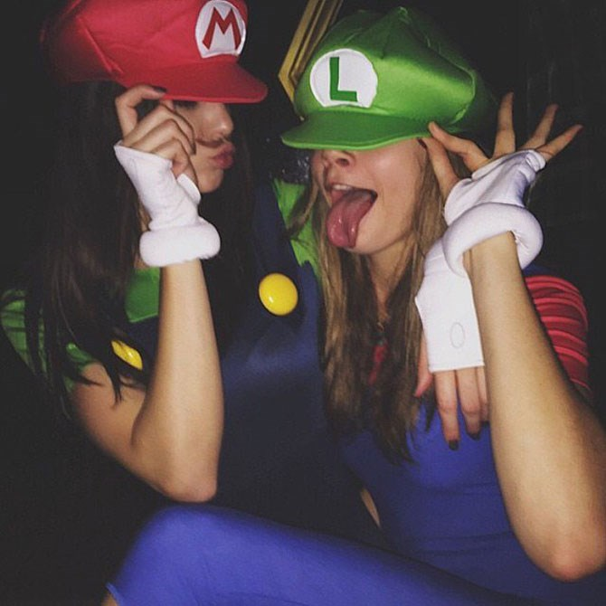 **Mario and Luigi**  Meanwhile, the hottest bff's in all the world, Cara Delvingne and Kendall Jenner, opt for Super Mario Cart characters, Mario and Luigi, who just happen to be the cutest little Italian men we know. That said, we don't know many little Italian men, so…