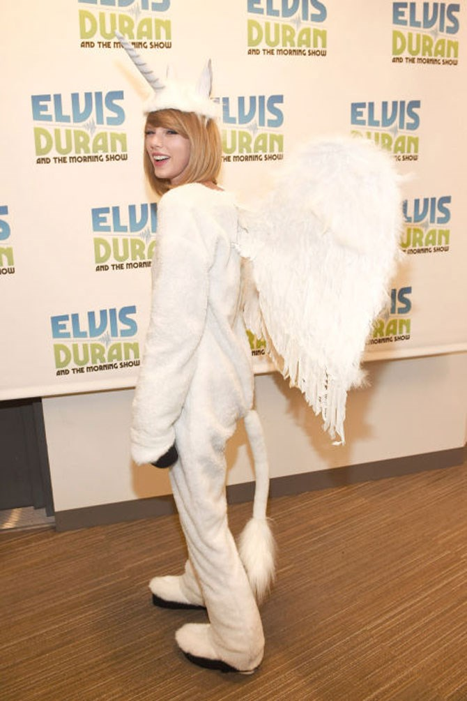 **A Unicorn**  Taylor Swift in this unicorn outfit gives us all the feels because: UNICORNS! Whilst this isn't sexy at all, do prepare yourselves for people making d***head jokes. It can't be avoided.