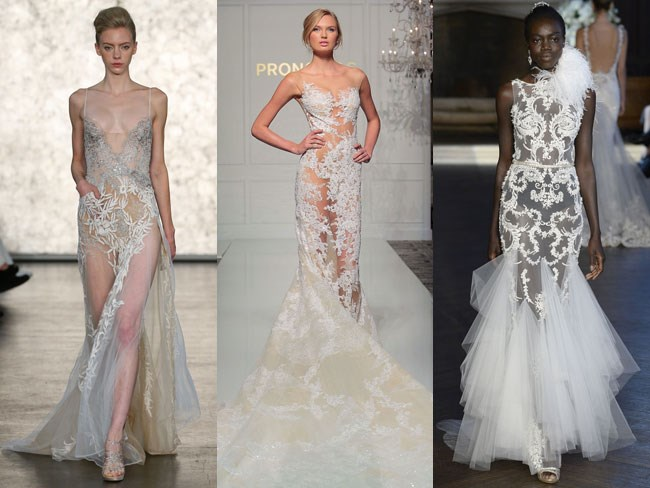 These lingerie-esque wedding gowns from fall 2016 Bridal Fashion Week take their inspiration from the naked red carpet dresses worn by the likes of Jennifer Lopez and Rihanna. If they can do it, you can too.