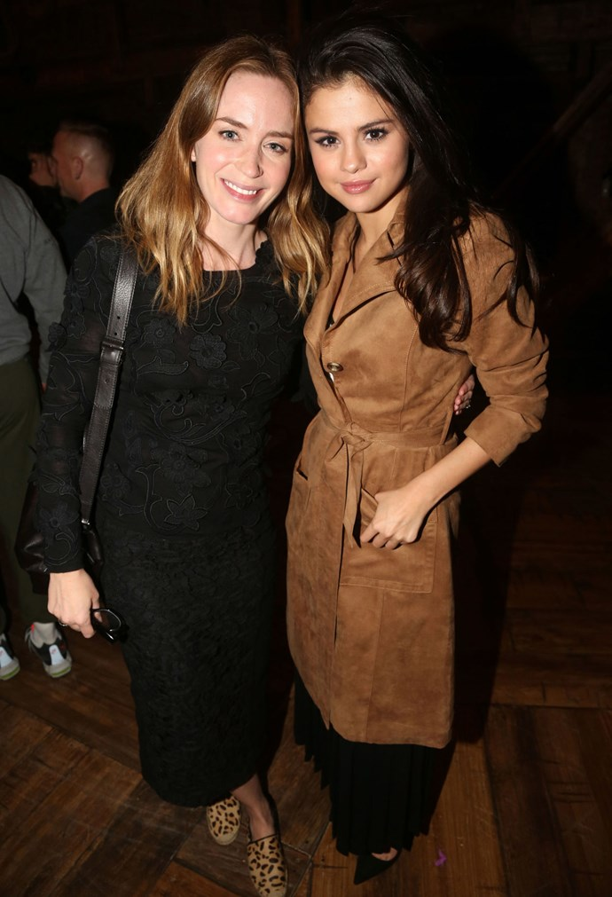 She later went to see *Hamilton* on Broadway with gal pal, Emily Blunt, wearing a tan suede trench coat over a long black dress.