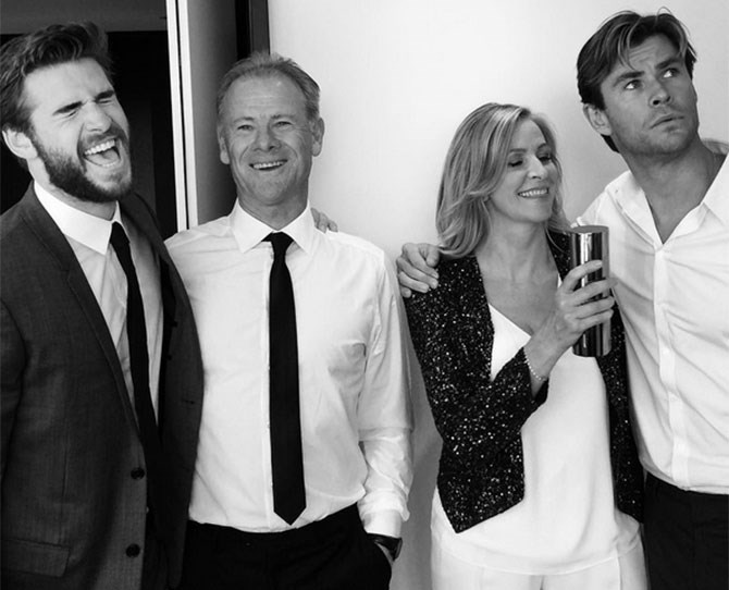 """Chris Hemsworth's caption was everything: """"Another strange family portrait to add to the mix.#dressmaker#premier#wheresluke?"""" Where IS Luke indeed?!"""