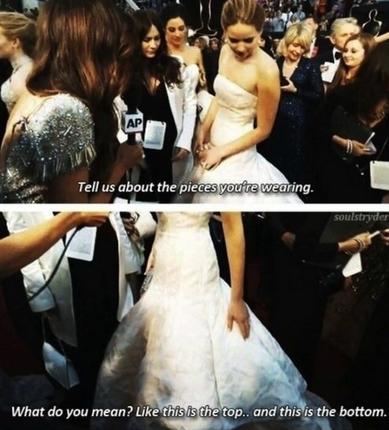 JLaw is also obviously not a fan of fashion-based red carpet questions. #AskHerMore