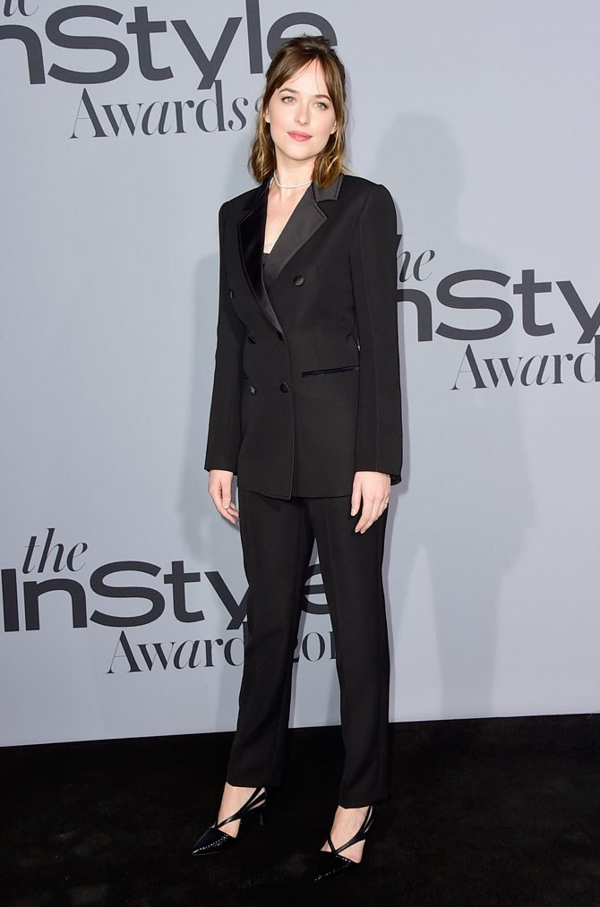 Dakota Johnson looked incredible in this chic, tailored suit.