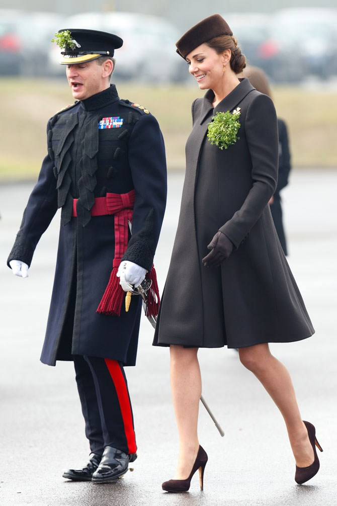 A structured coat with matching box hat is the perfect combo for those super serious royal duties. And can we please bring back the lapel greenery!?