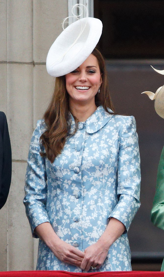 Just one month later she opted for pastel florals again, this time on the balcony at Buckingham Palace during Trooping the Colour in honor of Queen Elizabeth's birthday.