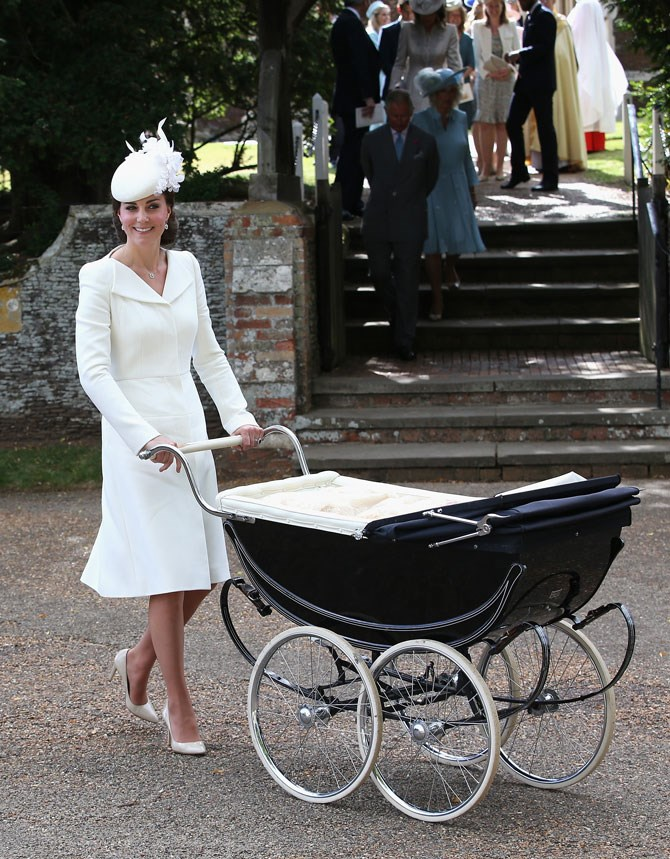 For Princess Charlotte's christening she opted for a chic all-white ensemble. But the best accessory? The most beautiful pram we ever did see! Oh, and that adorable daughter, of course.