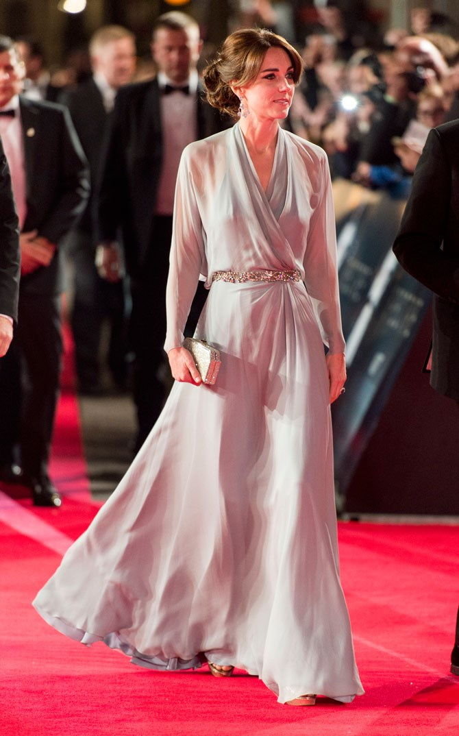 """That same evening Will and Kate stepped out for a movie premiere and Kates dress was absolutely mind blowing. That sheer, flowing, dove grey fabric is so dreamy! Some went on to say that this was rather """"risky"""" (because she's not wearing a bra - shock, horror!) but we're pretty sure those people are just living on another planet."""