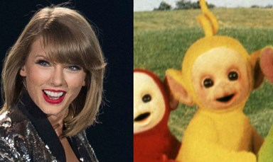 Please look at this photo of Taylor Swift dressed as a Teletubby
