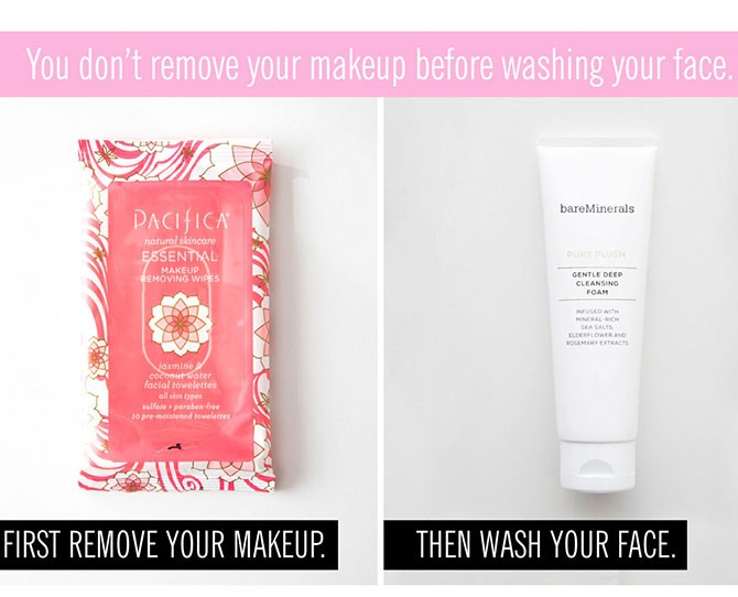 **2. You're not washing your face after you use a makeup wipe.   **I get it, washing your face is a hassle as it is, and sometimes you only have the strength to sweep a wipe over your face and fall into bed. But using a makeup wipe soloisn't going to cut itall*of the time. Instead, make sure that after youremoveyour makeup with a wipe (if that's your jam), youwash your face with an actual cleanser to clear away any dirt or grime left behind.