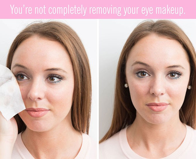 """**4. You're not fullyremoving your eye makeup.**   Not thoroughly taking off your eye makeup can lead to an eye infection, which nobody wants. So take the extra time to remove your eyeliner or mascara — even if you have to blow through six wipes to successfully do it. For a speedier removal, use eye makeup remover pads, like these from[Simple](https://www.priceline.com.au/simple-kind-to-skin-eye-make-up-remover-pads-30-pack