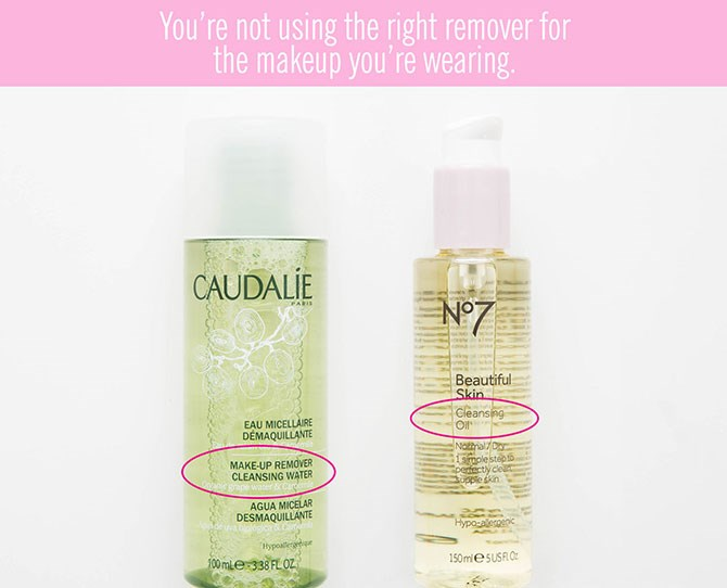 """**5. You're not using the right remover for the makeup you're wearing.**   If you're heading out of the house with a lightweight BB cream or concealer only where you need it, a micellar cleanseror cleansing water will do the trick when you're removing your makeup. (Try[BIODERMA Sensibio](https://www.priceline.com.au/bioderma-sensibio-h2o-micelle-solution-250-ml