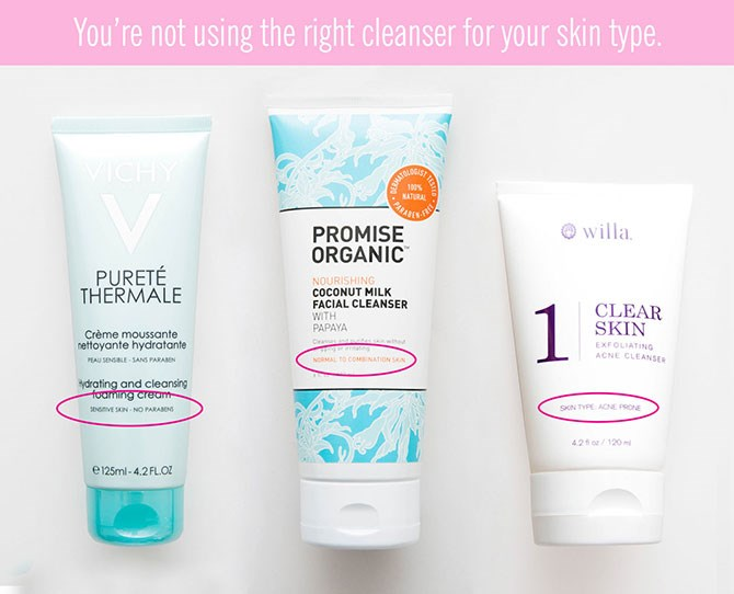 **7. You're using the wrong type of cleanser for your skin type.**   If you have yet to nail down your skin type (normal, oily, combination, etc.), make an appointment with your dermatologist to figure out what your exact needs are. Then, based on what your dermatologistsays, use a cleanser that will meet your skin'sneeds so you continue to have the clearest, most hydrated skin possible.