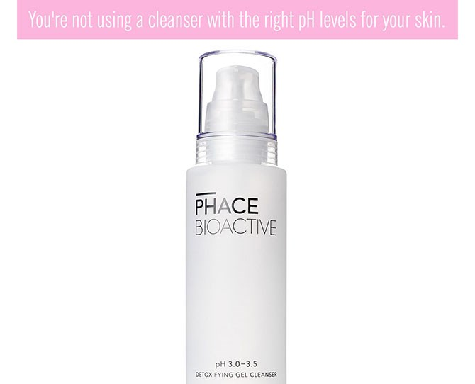 **8. Your cleanser doesn't have the right pH levels.** Healthy skin has a naturally acidic pH of 4.0 to 5.5 and to keep it that way, you need a slightly acidic cleanser (often cleansers are too alkaline and can strip your skin's moisture barrier) to keep your acid mantle intact. Your acid mantle is a thin, protective layer on your skin's surface that helps control pH and protects it from the outer elements (dirt, bacteria, pollution, etc.), inhibits bacterial growth (Bye, acne!), and helps your skin stay firm and elastic. If it's compromised, skin can become imbalanced, break out, become pink and inflamed and even dry and flaky.  To keep your skin's pH levels neutral, look for a cleanser that falls between the 3.0 to 3.5 range. Too hard? If you can't see the pH levels marked out on their packaging, look for a balancing cleanser.