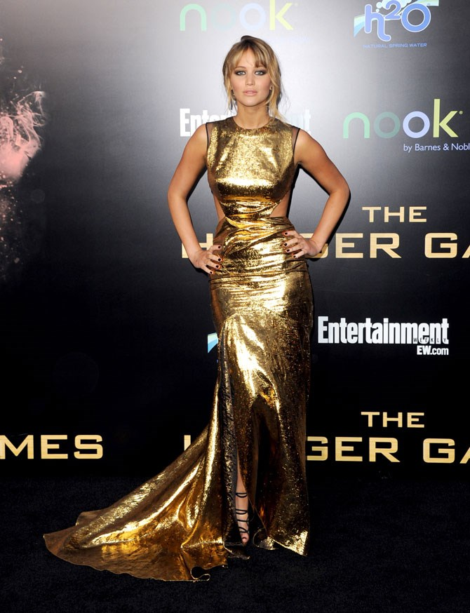Just a month later and the ante was officially upped in this gold gown for the LA premiere.