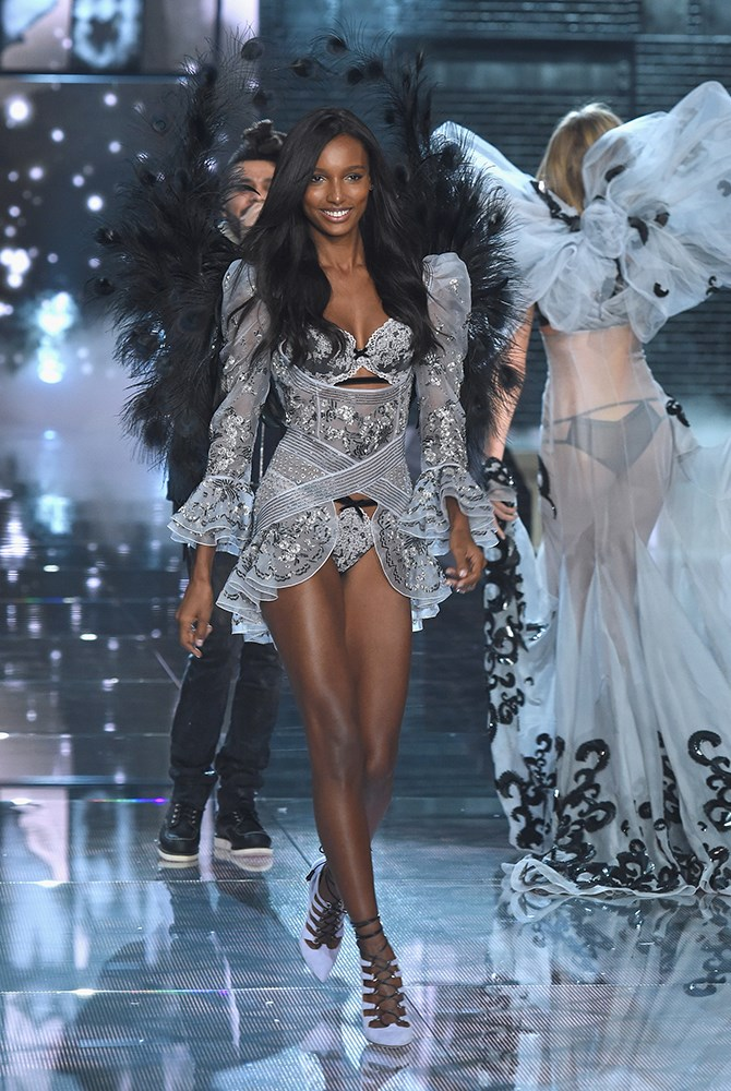 We love that you can make out The Weeknd's trademark 'do through Jasmine Tookes' wings. #Twinning.