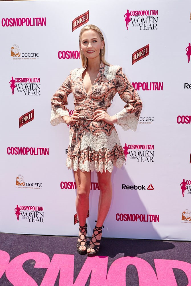 Anna Bamford looks gorgeous as always in this printed, bohemian mini dress.