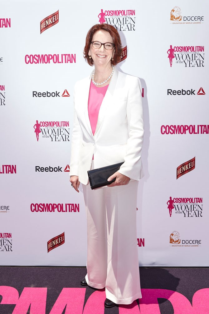 The ever-inspiring, Julia Gillard, rocks a pant suit better than anyone we know. Even gives Hilary (Clinton, that is) a run for her money!