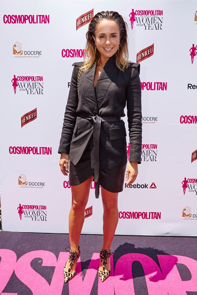 Pip Edwards was all black errthang in this incredible, structured blazer, belted over a leather mini skirt.