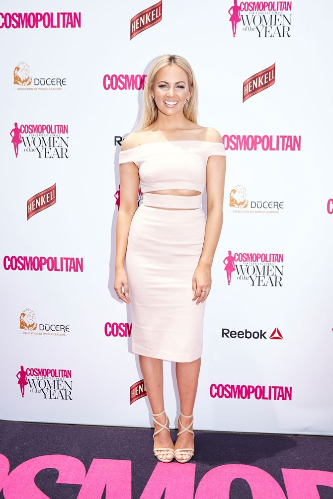 Samantha Jade looked absolutely radiant in pale pink.