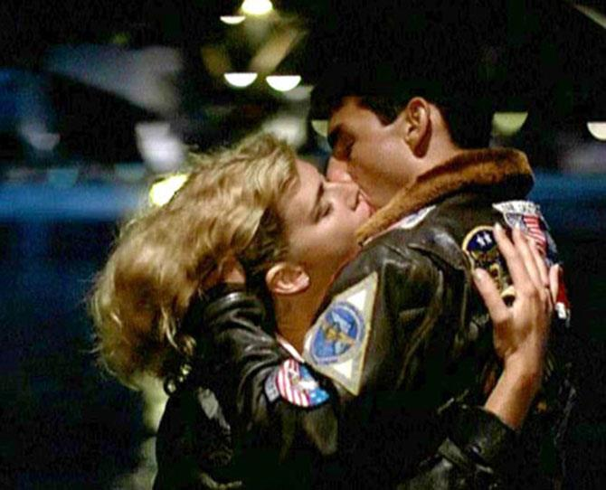 ***Top Gun*** <br><br> Speaking of Tom Cruise ... he and Kelly McGillis in *Top Gun. Take our breath away is right.