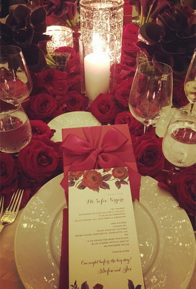 The table setting is romance personified.