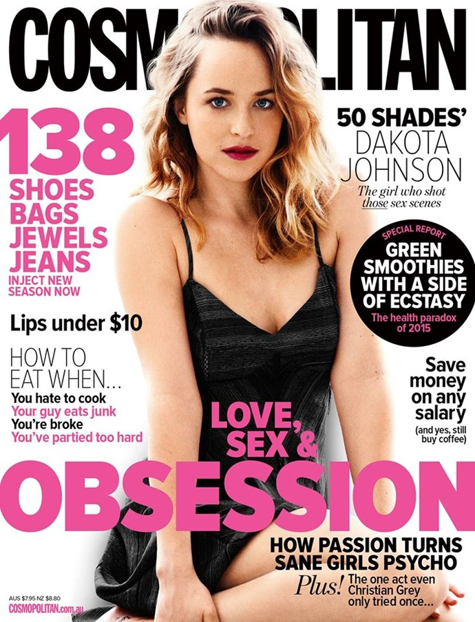 """**APRIL: Dakota Johnson** Remember when the whole world stopped for [the Fifty Shades movie](http://www.cosmopolitan.com.au/health-lifestyle/lifestyle/2015/2/63-things-i-wrote-down-while-watching-fifty-shades-of-grey/