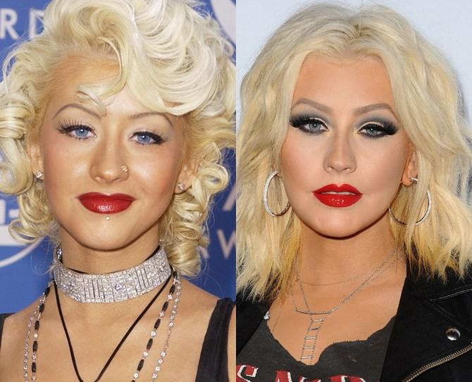 **Christina Aguilera**  <br> 2002 vs. now