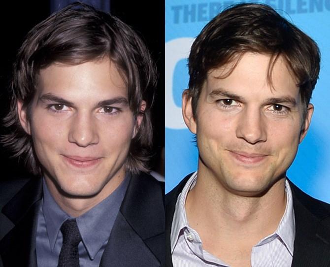 **Ashton Kutcher**  <br> 1999 vs. now