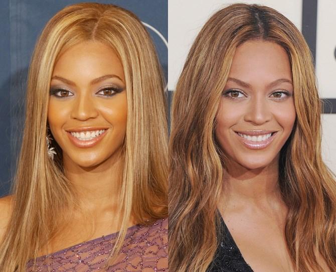 **Beyoncé Knowles**  <br> 2002 vs. now